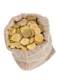 νομίσματα τσαντών που γεμί&z Στοκ Εικόνα