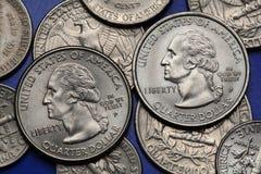 Νομίσματα των ΗΠΑ George Ουάσιγκτον Στοκ Εικόνες