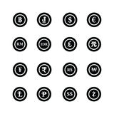 Νομίσματα των παγκόσμιων εικονιδίων καθορισμένων Στοκ Φωτογραφία
