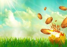 Νομίσματα χαρτοπαικτικών λεσχών που πετούν από τα κοχύλια Πάσχας αυγών Στοκ Φωτογραφία