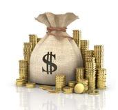 Νομίσματα χρημάτων στην τσάντα στοκ φωτογραφία με δικαίωμα ελεύθερης χρήσης