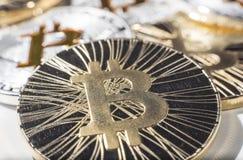 Νομίσματα BTC Bitcoin στοκ φωτογραφίες