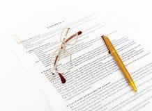 νομικά έγγραφα συμβάσεων Στοκ Εικόνες