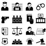 Νομικά, εικονίδια δικαιοσύνης και δικαστηρίων Στοκ Εικόνα