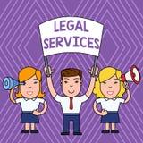 Νομικές υπηρεσίες κειμένων γραφής Έννοια που σημαίνει παρέχοντας στην πρόσβαση στους ανθρώπους ισότητας νόμου δίκαια δίκης δικαιο απεικόνιση αποθεμάτων