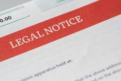 Νομική ειδοποίηση Στοκ Εικόνα