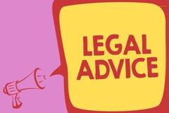 Νομική συμβουλή γραψίματος κειμένων γραφής Έννοια που σημαίνει την άποψη δικηγόρων για τη διαδικασία νόμου ιδιαίτερο Megaphone κα διανυσματική απεικόνιση