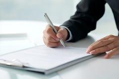 νομική υπογραφή εγγράφων Στοκ Εικόνες