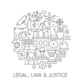 Νομικός, νόμος και δικαιοσύνη στον κύκλο - απεικόνιση γραμμών έννοιας για την κάλυψη, έμβλημα, διακριτικό Λεπτά εικονίδια κτυπήμα διανυσματική απεικόνιση