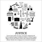 Νομικό, σύνολο εικονιδίων νόμου και δικαιοσύνης μορφή κύκλων Στοκ Εικόνες
