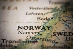 Νορβηγία στο χάρτη Στοκ εικόνες με δικαίωμα ελεύθερης χρήσης