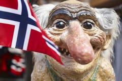 Νορβηγία Troll κεφάλι με τη νορβηγική σημαία Σκανδιναβικό σύμβολο Στοκ Εικόνα