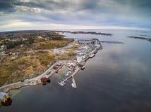 Νορβηγικά κτήρια ακτών και αλιείας Στοκ Φωτογραφίες