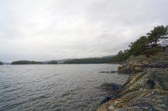 Νορβηγικά φιορδ και βουνά Δύσκολα ακτή, κύματα και δέντρα Στοκ Φωτογραφίες
