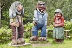 Νορβηγικά χαρασμένα ξύλινα trolls Σκανδιναβική λαογραφία Νορβηγία Στοκ εικόνες με δικαίωμα ελεύθερης χρήσης