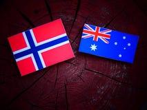 Νορβηγική σημαία με την αυστραλιανή σημαία σε ένα κολόβωμα δέντρων που απομονώνεται Στοκ εικόνες με δικαίωμα ελεύθερης χρήσης