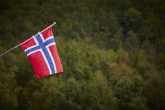 Νορβηγική σημαία με το πράσινο δασικό υπόβαθρο τοπίων Νορβηγία sy Στοκ φωτογραφία με δικαίωμα ελεύθερης χρήσης