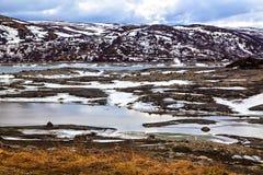 Νορβηγική φύση χειμερινών κρύα χρωμάτων Στοκ Εικόνες