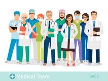 Νοσοκομείο ή ιατρικοί χαρακτήρες κινουμένων σχεδίων προσωπικού απεικόνιση αποθεμάτων