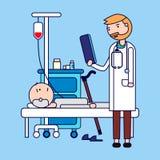 Νοσοκομείο Γιατρός με έναν ασθενή στο θάλαμο Διαβουλεύσεις και ιατρική διάγνωση για το άρρωστο άτομο διανυσματική απεικόνιση