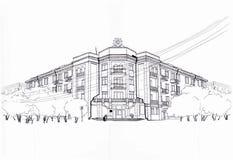 Νοσοκομείο εδαφών Krasnoyarsk των παλαιμάχων των πολέμων σκίτσο Στοκ εικόνα με δικαίωμα ελεύθερης χρήσης