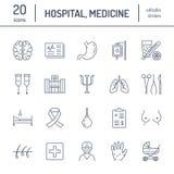 Νοσοκομείο, ιατρικά επίπεδα εικονίδια γραμμών Ανθρώπινα όργανα, στομάχι, εγκέφαλος, γρίπη, ογκολογία, πλαστική χειρουργική, ψυχολ ελεύθερη απεικόνιση δικαιώματος