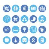 Νοσοκομείο, ιατρικά επίπεδα εικονίδια glyph Ανθρώπινα όργανα, στομάχι, εγκέφαλος, γρίπη, ογκολογία, πλαστική χειρουργική, στήθος  ελεύθερη απεικόνιση δικαιώματος