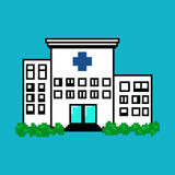 Νοσοκομείο στο ύφος τέχνης εικονοκυττάρου στο μπλε υπόβαθρο Στοκ φωτογραφία με δικαίωμα ελεύθερης χρήσης