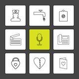 νοσοκόμα, βρύση, περιοχή αποκομμάτων, μήνυμα, mic, τηλέφωνο, καρδιά, αυτός απεικόνιση αποθεμάτων