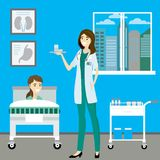 Νοσοκόμα και ασθενής στο δωμάτιο νοσοκομείων διανυσματική απεικόνιση