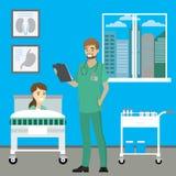 Νοσοκόμα και ασθενής στο δωμάτιο νοσοκομείων ελεύθερη απεικόνιση δικαιώματος