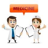 Νοσοκόμα και γιατρός που παρουσιάζουν αντίχειρα ελεύθερη απεικόνιση δικαιώματος