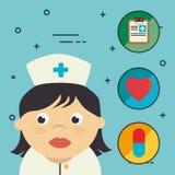 Νοσοκόμα με τα ιατρικά εικονίδια υγειονομικής περίθαλψης διανυσματική απεικόνιση