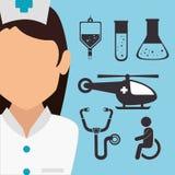 Νοσοκόμα με τα ιατρικά εικονίδια υγειονομικής περίθαλψης απεικόνιση αποθεμάτων