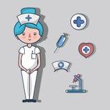 Νοσοκόμα με τα στοιχεία εξαρτήσεων πρώτων βοηθειών διανυσματική απεικόνιση
