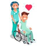 Νοσοκόμα με τον ασθενή στην αναπηρική καρέκλα Isometric διάνυσμα κινούμενων σχεδίων ανθρώπων ελεύθερη απεικόνιση δικαιώματος