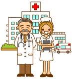 νοσοκόμα νοσοκομείων γιατρών διανυσματική απεικόνιση