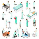 Νοσοκόμες που παρευρίσκονται στα εικονίδια ασθενών καθορισμένα τη Isometric άποψη διάνυσμα ελεύθερη απεικόνιση δικαιώματος