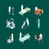 Νοσοκόμες που παρευρίσκονται στα εικονίδια ασθενών καθορισμένα τη Isometric άποψη διάνυσμα απεικόνιση αποθεμάτων