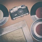 Νοσταλγική έννοια διάθεσης με τα παλαιά αναδρομικά πράγματα Στοκ Φωτογραφία