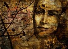 Νοσταλγικό πορτρέτο του προσώπου το φθινόπωρο Στοκ Φωτογραφίες