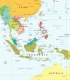 Νοτιοανατολική Ασία - χάρτης - απεικόνιση Στοκ Εικόνες