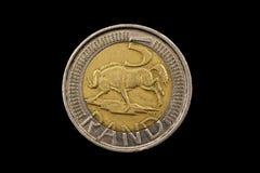 Νοτιοαφρικανικό νόμισμα πέντε ακρών που απομονώνεται στο Μαύρο Στοκ φωτογραφίες με δικαίωμα ελεύθερης χρήσης