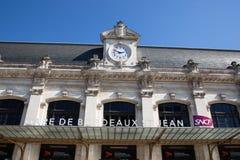 Νουβέλα του Μπορντώ Aquitaine/Γαλλία - 03 28 2019: Πρόσοψη του κύριου σιδηροδρομικού σταθμού γνωστού ως S.N.C.F Gare της πόλης Μπ στοκ εικόνες με δικαίωμα ελεύθερης χρήσης