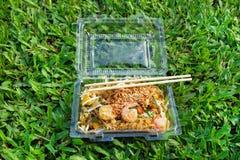 Νουντλς με το μαξιλάρι Ταϊλανδός λαχανικών, γαρίδων και αυγών σε ένα πλαστικό εμπορευματοκιβώτιο σε μια χλόη Στοκ Εικόνες