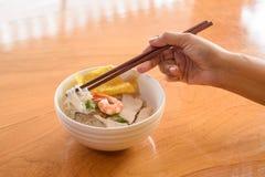 Νουντλς με το χοιρινό κρέας και τις γαρίδες στοκ εικόνες με δικαίωμα ελεύθερης χρήσης