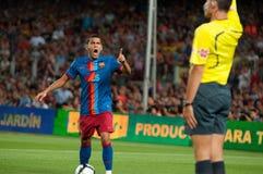 Ντάνιελ Alves, Φ Φορέας Γ Βαρκελώνη, 0 με το διαιτητή Στοκ εικόνα με δικαίωμα ελεύθερης χρήσης