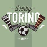 Ντέρπι του Τουρίνου στα ιταλικά σχέδιο ετικετών Μπότες και σφαίρα ποδοσφαίρου επίπεδες Στοκ Εικόνα
