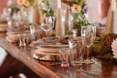 Ντεκόρ γαμήλιων πινάκων στοκ εικόνες