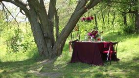 Ντεκόρ γαμήλιων πινάκων στη φύση απόθεμα βίντεο
